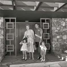 """Actress Lucille Ball and husband Desi Arnaz with children Desi Jr. and Lucie in front of their Palm Springs home."" Photo by Maurice Terrell for the Look magazine assignment ""Lucy Goes Shopping. Favorite show growing up! I Love Lucy, My Love, Classic Hollywood, Old Hollywood, Hollywood Couples, Hollywood Stars, Hollywood Homes, Celebrity Couples, Celebrity Pictures"