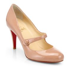 charlene 85 patent leather mary jane pumps by Christian Louboutin. Fashioned in polished patent leather with a button-detailed strap, the classic Mary Jane gets a signature update with. Nude Shoes, Hot Shoes, Christian Louboutin So Kate, Mary Jane Pumps, Only Shoes, Patent Leather Pumps, Dress And Heels, Manolo Blahnik, Mary Janes