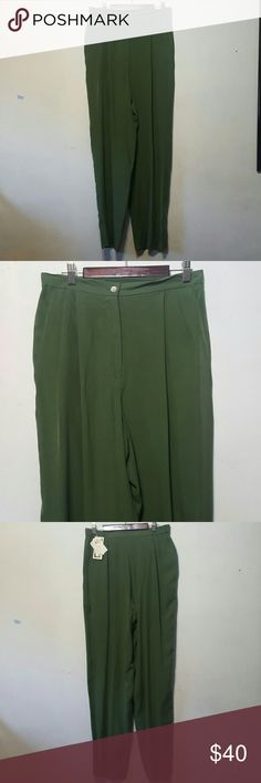 """Forest green silk pants Very chic and classy forest green slacks. Worn once. Small run, not too noticable. Cute and comfy. Wear with heels and crop tops. Make great over sized pants for a hipster/urban vibe. Vintage. 29""""'- 34"""" waist Vintage Pants"""