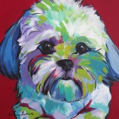 """Just Me"" acrylic Shih Tzu pet portrait dog art by Karren Garces. Custom orders welcome. ""Just Me"" acrylic Shih Tzu pet portrait dog art by Karren Garces. Shih Tzu, Dog Quilts, Dog Artwork, Colorful Animals, Arte Pop, Dog Portraits, Animal Paintings, Beautiful Paintings, Art Techniques"
