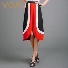 Find More Skirts Information about VOA 2016 autumn new stitching silk skirt European high end bud high waist skirt C6737,High Quality skirt mini,China skirt craft Suppliers, Cheap skirt lures from VOA Flagship Shop on Aliexpress.com