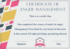 photo regarding Printable Anger Management Certificate titled Pin upon Anger Command Certification Templates