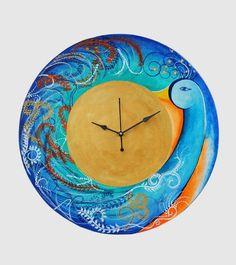 Designer hand painted wooden wall #clock with 25% discount at #craftshopsindia   #wallclock