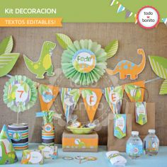 Dinosaurios: decoración de fiesta para imprimir - Todo Bonito