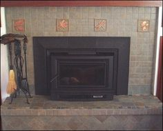Lovely Fireplace tiled With Fay Jones Day tiles and field tile from Home depot! #fireplacetile #craftsmanfireplace