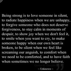 Being strong.....
