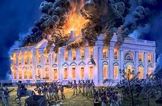 Painting of the White House burning