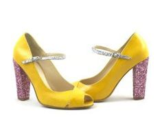 yellow patent leather pink and silver glitter pumps. €248.00, via Etsy.