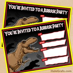 Click here to download FREE Printable Jurassic Park T-Rex Birthday Invitations!
