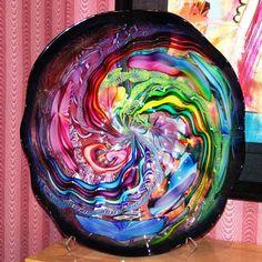 Kiss Art Gallery James Nowak Art Glass Cobalt Blue Tidepool a Pizza of Color