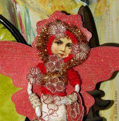 Vintage Spun cotton Figure  ornament  handmade Angel by DianaEvans, $20.00