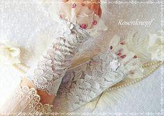 Reserviert für VERA Spitzenstulpen Grau Weiß Rosen von Rosenknopf auf DaWanda.com