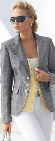 Gray blazer, white pants, and yellow top: