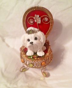Polymer clay Maltese on Chair