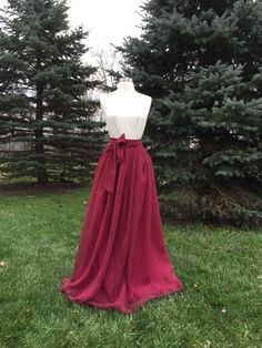 Ultra burgundy Chiffon skirt any length and color Bridesmaid