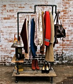 Industrial Garment Rack - would be awesome in laundry room, or anyway, looks cool Makeshift Closet, Diy Clothes Rack, Clothes Dryer, Clothes Rail, Shoe Shelves, Pipe Shelving, Garment Racks, Clothing Storage, Clothing Racks
