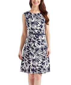 Navy & White Floral A-Line Dress