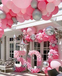 Pink Balloons, Confetti Balloons, Foil Balloons, Balloon Backdrop, Balloon Garland, Deco Ballon, Birthday Balloon Decorations, Birthday Balloons, Happy 50th Birthday