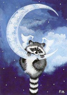 Raccoon Angel on the Moon Raccoon Drawing, Raccoon Tattoo, Raccoon Art, Racoon, Animal Paintings, Animal Drawings, Tier Fotos, Moon Art, Wildlife Art
