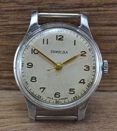 RARE Vintage Soviet USSR Russian watch POBEDA 1956 1MCHZ Serviced