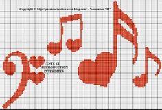 Cross Stitch Music, Cross Stitch Heart, Counted Cross Stitch Patterns, Cross Stitch Embroidery, Embroidery Patterns, Alpha Patterns, Loom Patterns, Quilt Patterns, Knitting Patterns
