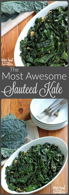 The Most Awesome Sauteed Kale! This is the number one recipe at Whole Food Real Families for 2 years running. Turn your kale-haters into kale-lovers! Side Dish Recipes, Veggie Recipes, Whole Food Recipes, Vegetarian Recipes, Cooking Recipes, Healthy Recipes, Delicious Recipes, Cooked Kale Recipes, Cooking Kale