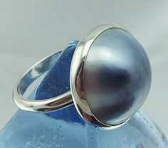 Blue Mabe pearl ring bpr002 shipping included