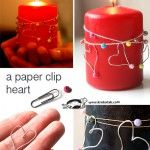 DIY Valentine Décor.  Make a heart with a paper clip, string a few beads around a candle and attach the hearts. Cute and inexpensive way to decorate a candle for Valentine's Day décor.
