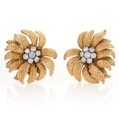 Van Cleef & Arpels  Diamond and 18 karat Gold Ear Clips.  Available exclusively at Macklowe Gallery.