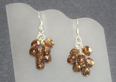 Cluster earrings with copper luster Czech glass beads