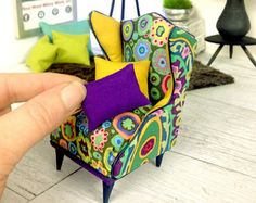 1:12 Scale Modern Miniature Furniture - Kaffe Fassett Wingback Chair - Perfect for the Stylish Dolls House or Room Box - OOAK