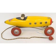 Ted Toy wooden pull toy racer with clacker Wooden Wheel, Pull Toy, Old Toys, 1920s, Diecast, Trains, Ted, Old Things, Old Fashioned Toys