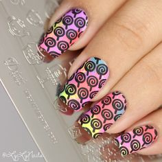 Candy lollipop nails using Delush Polish's High & Mightea stamping plate.
