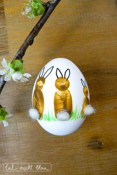 Fingerabdruck-Ostereier - niedliche Osterhasen-Idee für Ostern - Malen mit Kindern