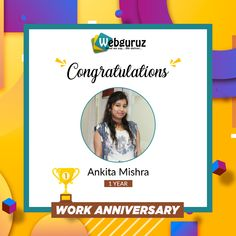 Congratulations Ankita on your First Work Anniversary with Webguruz! May the coming years will bring you more achievements and success! Best wishes for your great dedication towards the organization. Online Marketing Agency, Work Anniversary, Wishes For You, App Development, Innovation, Appreciation, Congratulations, Engineering, Success