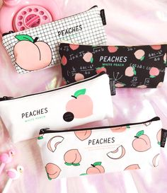 Keep it Peachy Canvas Pencil Case Types) - Peach in Black - Cute Pencil Case, School Pencil Case, Black Pencil Case, School Stationery, Kawaii Stationery, Pencil Bags, Pencil Pouch, Cute School Supplies, Cute Stationary School Supplies