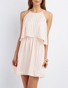 Bib Neck Striped Dress