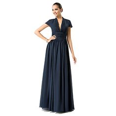 OK HONESTLY THIS MIGHT BE THE ONE.. ITS PERFECT, THE SLEEVES, THE V NECK, THE SINCHED WAIST, THE CHIFFON AND THE COLOR, AND THE PRICE IS INSANCE.. LOVE LOVE Sheath/Column V-neck Floor-length Chiffon Evening Dress – USD $ 79.29