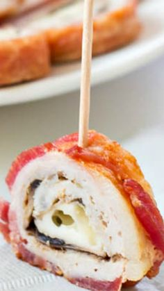 Bacon Wrapped Pork Roll-Ups ~ meat lovers heaven... You need only 5 ingredients for this satisfying, but addicting appetizer.