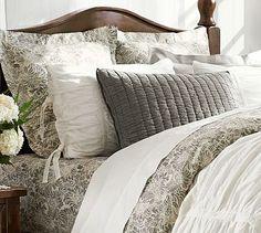 Love the various colored & textured pillows here.  Mari Duvet Cover Sham - Gray #potterybarn