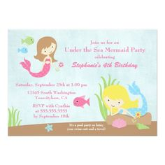 Mermaid Birthday Invitations Under the sea mermaid girl's birthday party invite