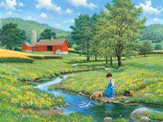 Cool Waters by John Sloane ~ summer ~ barn ~ stream ~ girl & dog