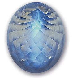 Moonstone consists of albite, alternating with layers of either Orthoclase or Sanidine. The layering interferes with the light entering the stone, resulting in a shifting blue glow.