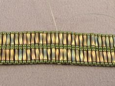 Double Cross Square Stitch Bracelet Free Beading Pattern: Add a New Thread for the Embellishment