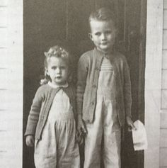 "Marilynne Robinson, age three, and her brother, age five, in Spirit Lake, Idaho, 1946. ""My brother told me I was going to be a poet ... There we were in this tiny town in Idaho, and he was like Alexander dividing up the world: I'll be the painter, you'll be the poet."""