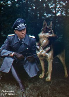 An unknown Luftwaffe officer with his German Shepherd, 1940.