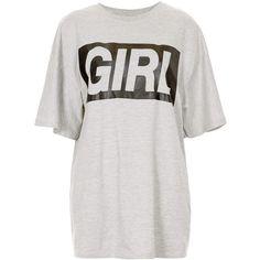 TOPSHOP Girl Tee ($12) ❤ liked on Polyvore featuring tops, t-shirts, shirts, topshop, tees, grey marl, shirt top, marled t shirt, tee-shirt and gray shirt
