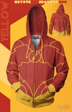 DC Comics #Flash hoodie Yellow Hoodie, Zip Hoodie, Dc Comics, Athletic, Hoodies, Jackets, Collection, Fashion, Down Jackets
