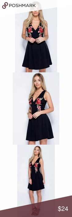 """Rose floral skater dress (black) Super flattering black skater dress with floral embroidery detail. Zip up closure in back.  I've worn this for months and get compliments everywhere I go - several stylish Parisian women stopped me in the streets to ask where I bought it when I was visiting Paris!   Form-fitting with a little bit of wiggle room, the material is 97% polyester 3% spandex. Measurements for a size 6 are: Bust 34"""" waist 27"""" length 34"""". Happy to measure other available sizes upon…"""