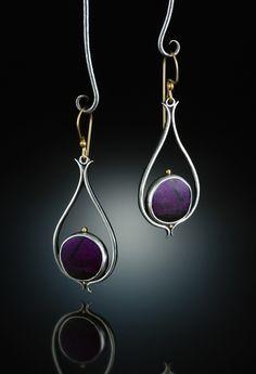 Sugilite Earrings. Fabricated Sterling Silver, 14k  18k. www.amybuettner.com